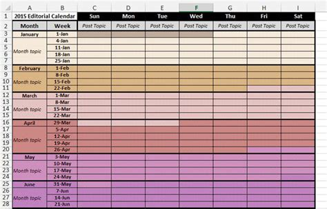 Marketing Planning Calendar Template 2015