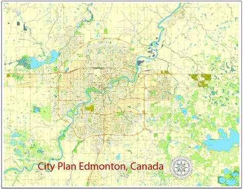 printable edmonton area map edmonton printable city plan map canada adobe illustrator