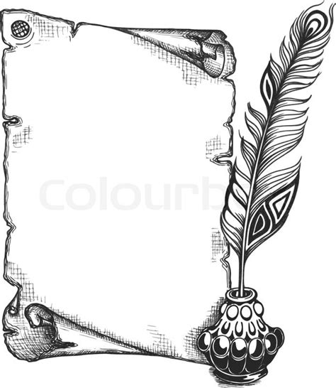 quill a4 sketchbook paper scroll feather and inkwell in a sketch style