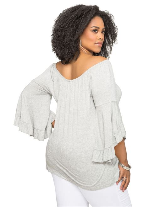 Ruffle Sleeve Shoulder Top plus size ruffle sleeve shoulder top 041 f1571