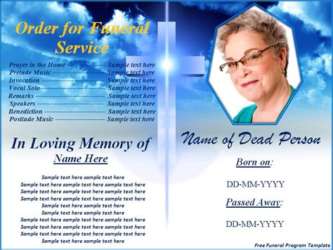 free memorial templates free funeral program templates button to