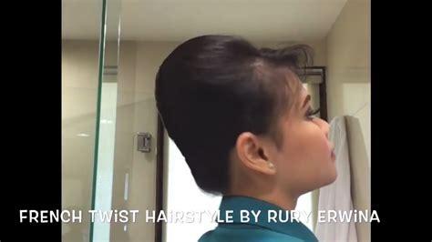 cara bikin sanggul pramugari garuda french twist hairstyle tutorial sanggul pramugari by