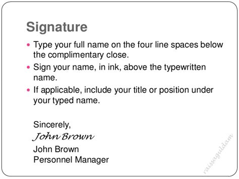 business letter signature title the business letter