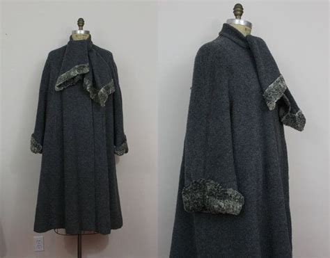 plus size wool swing coat r e s e r v e d 40s swing coat 40s grey persian lamb