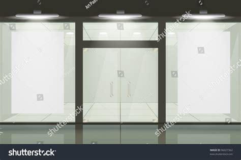 Window And Door Store by Shop Glass Windows Doors Front View Stock Illustration