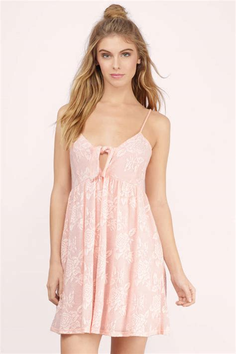 Id Lace Dress blush day dress pink dress front tie dress day