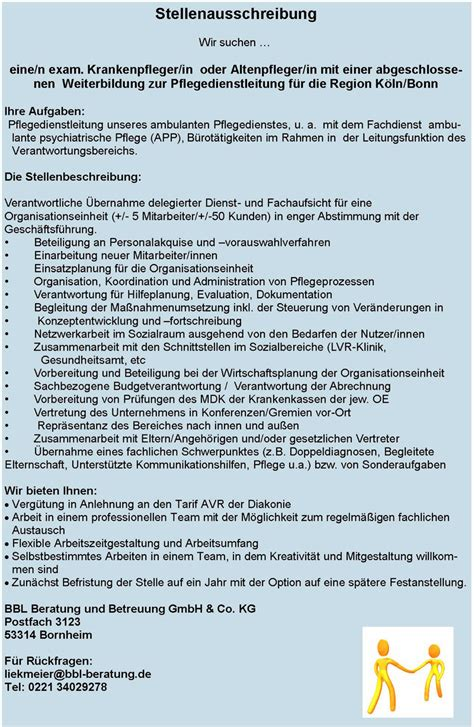 Bewerbung Ambulanter Pflegedienst Stellenangebot Pflegedienstleitung F 252 R Unseren Ambulanten Pflegedienst In Bonn