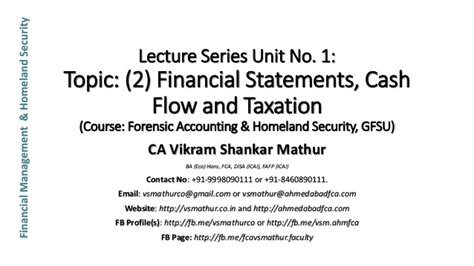 Mba In Forensic Accounting by Unit 1 2 Financial Statements Flow And Taxation Gfsu