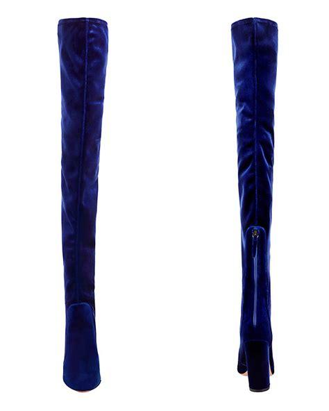 aquazzura velvet thigh high boot blue shop