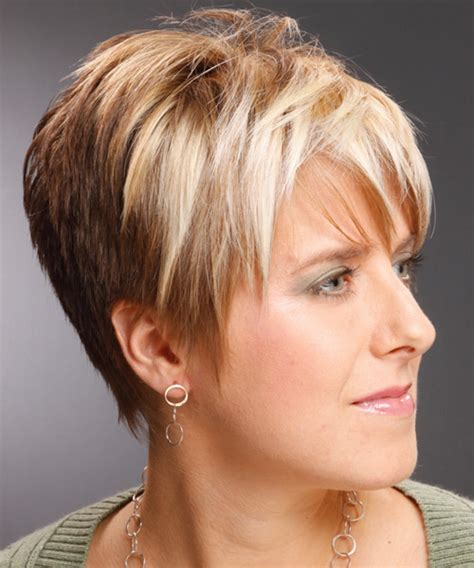 diferent hair highlights for older women chunky lowlights pixie cut dark brown hairs