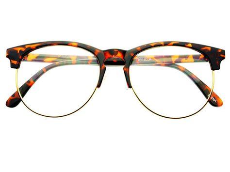 retro style keyhole large half frame eyeglasses