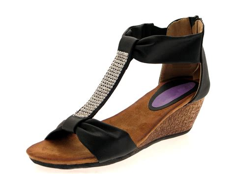 womens diamante t bar summer sandals low wedges heels