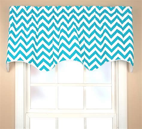 bright teal curtains reston chevron scallop valance thecurtainshop com