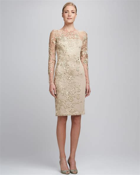 Lace Embroidered Dress lyst david meister embroidered lace cocktail dress in