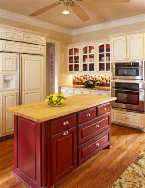 kitchen island different color than cabinets simplifying remodeling two tone cabinet finishes double