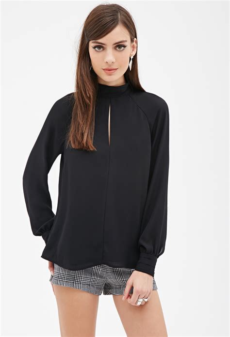 Black Blouse lyst forever 21 mock neck cutout blouse in black