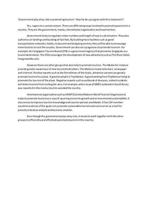 Government Essays by Government Play A Key In Promoting Tourism Essay