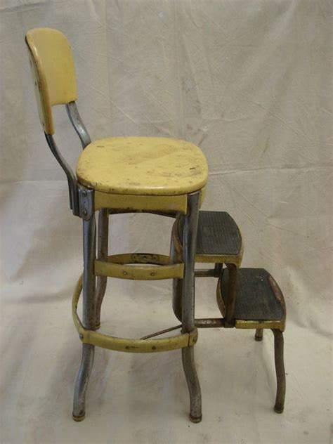 Vintage Cosco Kitchen Chair Fold Out Step Stool by Vintage Metal Yellow Folding Costco Chair Step Stool Fold