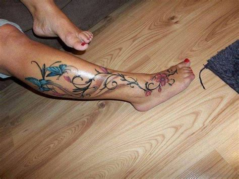 flower tattoo designs on leg 50 flowers tattoos on leg
