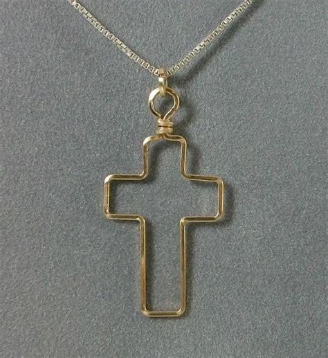 Handmade Cross Pendant - simple handmade wire wrapped cross pendant
