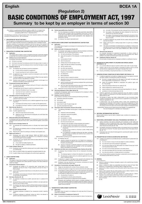 section 30 unemployment basic conditions of employment act poster lexisnexis