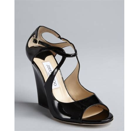 Jimmy Choo Strappy Wedges Black jimmy choo black patent leather verena strappy wedge