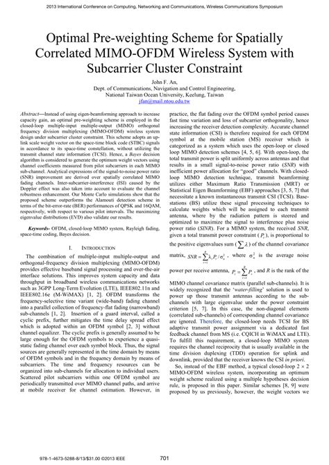 Ofdm Mimo Research Paper by Optimal Pre Weighting Scheme For Spatially Correlated Mimo Ofdm Wireless System With Subcarrier