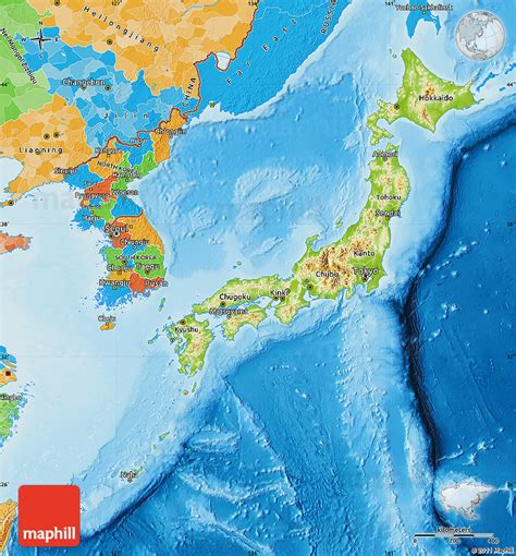 political map of japan physical map of japan political outside shaded relief sea