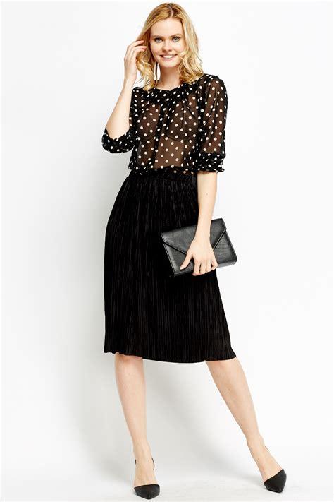 black pleated midi skirt just 163 5