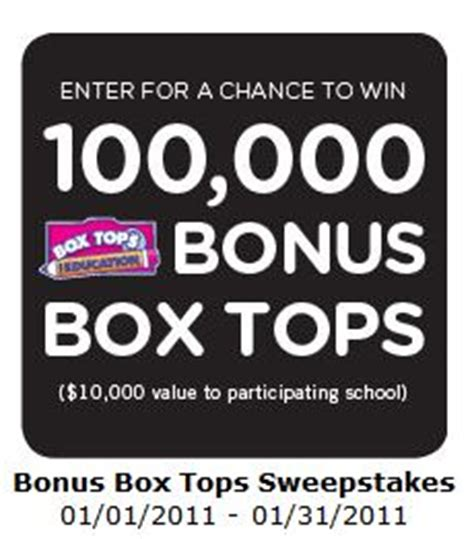Box Tops Sweepstakes - 100 000 box top sweepstakes who said nothing in life is free