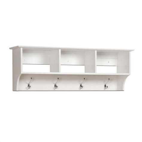 White Shelf With Hooks by Prepac Sonoma White Cubbie Shelf Wall Entryway Coat Rack