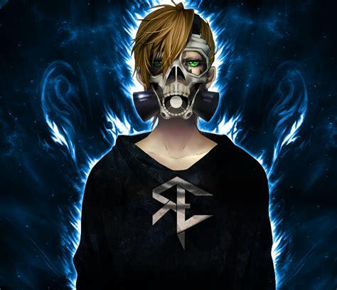 blonde gas masks anime skull fire reinelex