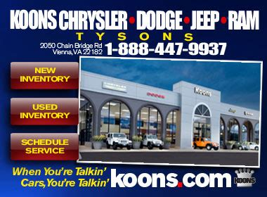 Koons Chrysler Tysons Corner by Koons Tysons Chrysler Dodge Jeep Ram Chrysler Dodge