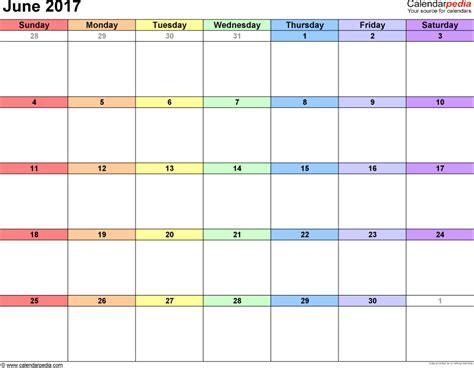 Calendar 2017 June To December June 2017 Calendars For Word Excel Pdf