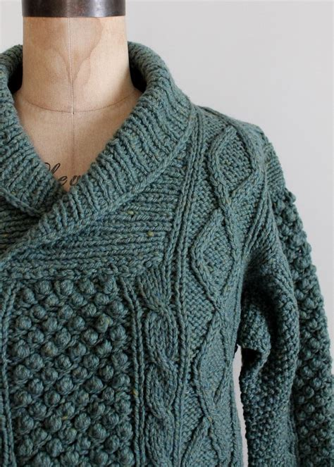 how to knit collar on sweater vintage 1960s blue cable knit shawl collar fisherman