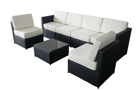 black wicker sofa mcombo 7pcs black wicker patio sectional outdoor sofa