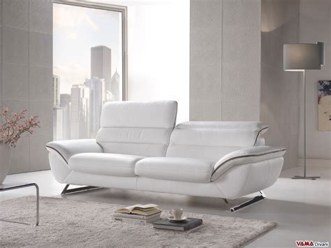 White Leather Contemporary Sofa Contemporary White Leather Sofa With Steel