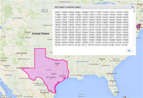 texas map zip codes zip code lookup on a map with zeemaps