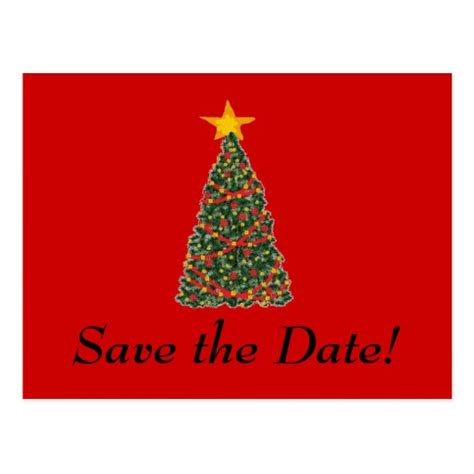 the christmas tree save the date postcard zazzle