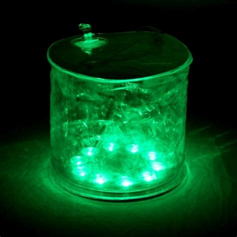 green solar lights portable outdoor folding inflation 10 led solar green