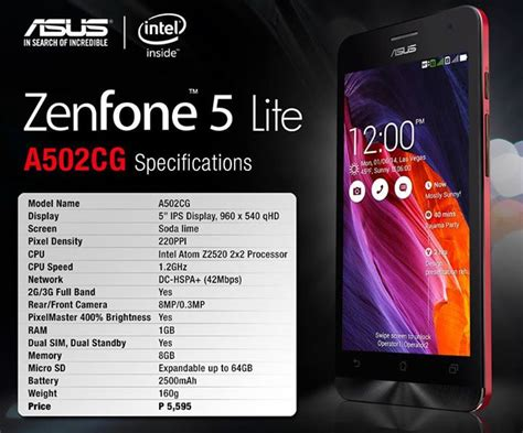 Update Hp Asus Zenfone 5 Lite asus zenfone 5 lite with 5 quot qhd display intel z2520 cpu launched in philippines techgiri