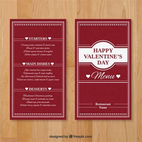 valentine elegant menu template vector free download