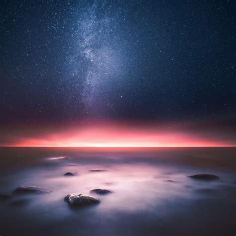 wallpaper milky  horizon sunset night starry sky