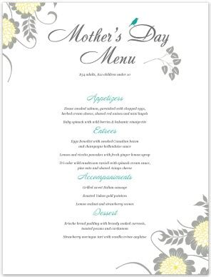 Menu For Mothers Day Template Mother S Day Menus S Day Menu Template