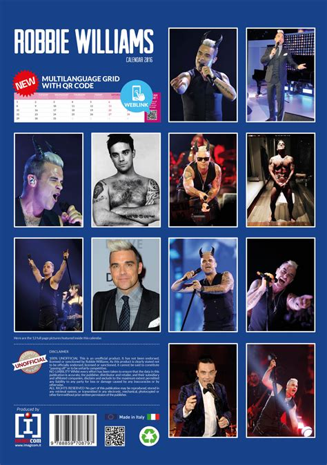 William And Calendar Kalender 2018 Robbie Williams Europosters Se