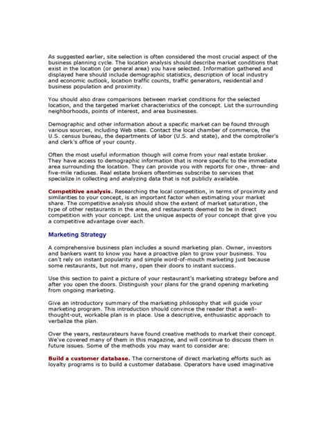 business plan guidelines format restaurant business plan guidelines free download