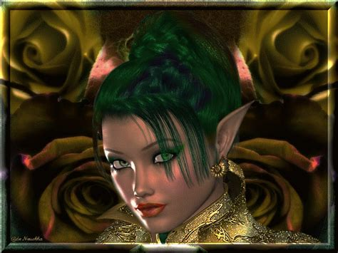 imagenes bellas hadas elfa verde y dorada