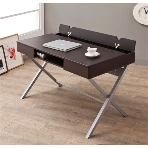 Coaster Desk With Built In Outlet In Cappuccino 800117 Office Desk Outlet