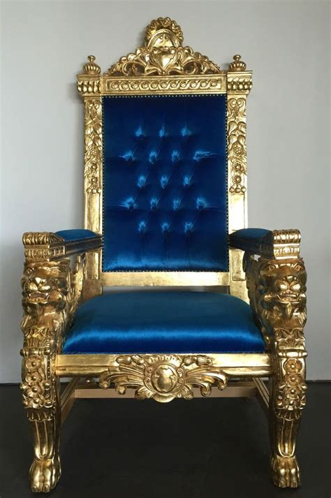 royal throne chair regency royal blue gold xl king