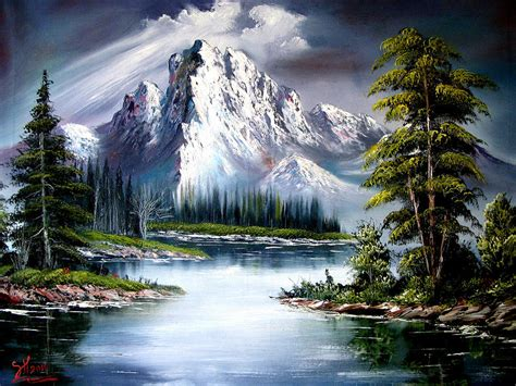 bob ross painting sun after painting by shirwan ahmed